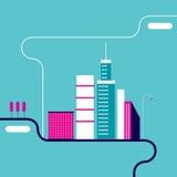 Siluette della costruzione della città del fondo di paesaggio urbano Immagini Stock Libere da Diritti