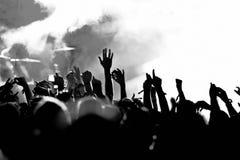 Siluette della folla di concerto Immagine Stock Libera da Diritti