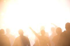 Siluette della folla di concerto Fotografia Stock Libera da Diritti