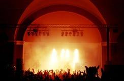 Siluette della folla di concerto Immagine Stock