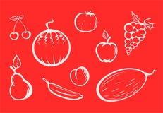 Siluette della frutta Immagini Stock