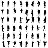 48 siluette della gente Immagini Stock