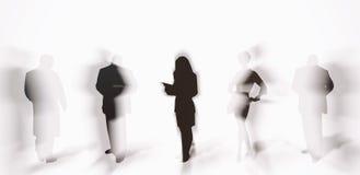 Siluette della gente con le ombre Fotografia Stock Libera da Diritti