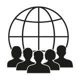 Siluette della gente contro lo sfondo del globo Immagine Stock