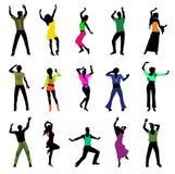 Siluette della gente di Dancing Fotografie Stock