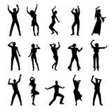 Siluette della gente di Dancing Fotografia Stock
