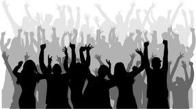 Siluette della gente di dancing Immagini Stock