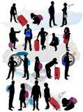 Siluette della gente di viaggio Fotografia Stock