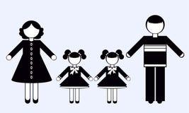 Siluette della gente famiglia Immagine Stock
