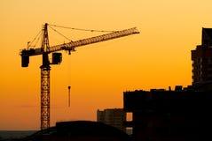 Siluette della gru della costruzione Immagini Stock