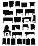 Siluette della mobilia antica Immagine Stock