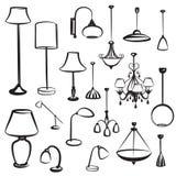 Siluette della mobilia della lampada messe Raccolta di progettazione della plafoniera Immagine Stock