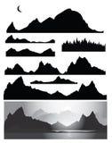 Siluette della montagna per il disegno Fotografia Stock Libera da Diritti