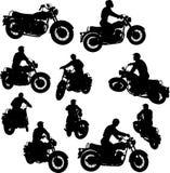 Siluette della motocicletta Fotografia Stock Libera da Diritti