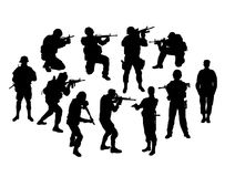 Siluette della polizia e del soldato, segno e simbolo, progettazione di vettore di arte Immagine Stock
