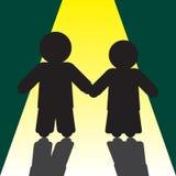 Siluette della ragazza e del ragazzo con le ombre Immagine Stock