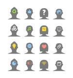 Siluette della testa umana con differenti idee Immagini Stock