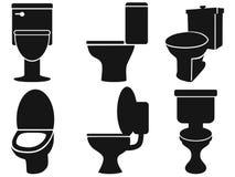 Siluette della toilette Immagini Stock