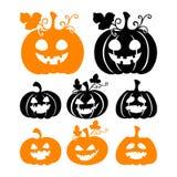 Siluette della zucca di Halloween su fondo bianco Fotografie Stock Libere da Diritti