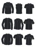 Siluette delle camice degli uomini Fotografia Stock
