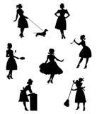 Siluette delle casalinghe Immagine Stock Libera da Diritti