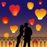 Siluette delle coppie amorose Fotografia Stock Libera da Diritti