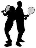 Siluette delle coppie che giocano tennis immagine stock libera da diritti