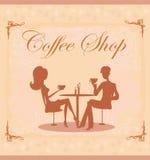 Siluette delle coppie che si siedono in caffè royalty illustrazione gratis