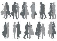 Siluette delle coppie di acquisto Fotografia Stock Libera da Diritti