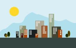 Siluette delle costruzioni della città Immagini Stock Libere da Diritti