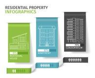 Siluette delle costruzioni sulla linguetta di carta variopinta, Real Estate residenziale Infographics Illustrazione di vettore illustrazione di stock