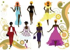 Siluette delle donne alla moda Fotografie Stock Libere da Diritti