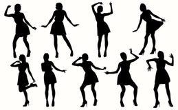 Siluette delle donne di dancing Fotografia Stock Libera da Diritti