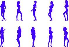 Siluette delle donne nude Fotografie Stock Libere da Diritti
