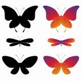 Siluette delle farfalle, disegno di wector Immagine Stock