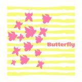 Siluette delle farfalle rosa Caotico su un fondo bianco Fotografie Stock Libere da Diritti