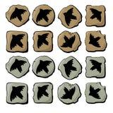 Siluette delle icone degli uccelli illustrazione vettoriale