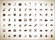 Siluette delle icone differenti Immagine Stock