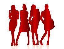 Siluette delle ragazze Immagini Stock Libere da Diritti