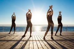 Siluette delle ragazze allegre che ballano vicino al mare all'alba Fotografia Stock