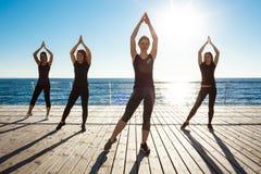 Siluette delle ragazze allegre che ballano vicino al mare all'alba Fotografia Stock Libera da Diritti