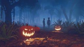 Siluette delle zucche e dei bambini di Halloween Fotografia Stock Libera da Diritti