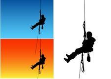 Siluette dello scalatore Immagini Stock Libere da Diritti