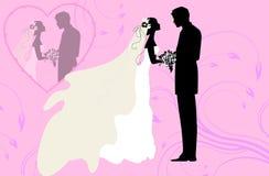 Siluette dello sposo e della sposa Fotografia Stock Libera da Diritti
