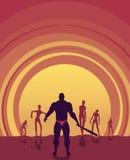 Siluette dello zombie sul tramonto Fotografia Stock Libera da Diritti