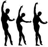 Siluette di balletto Immagini Stock Libere da Diritti
