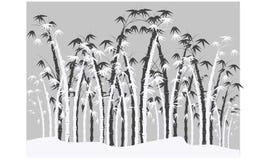 Siluette di bambù Fotografia Stock