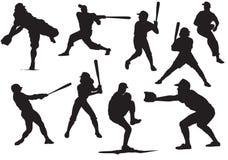Siluette di baseball Fotografia Stock