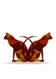 Siluette di carta dei gatti di origami Fotografie Stock
