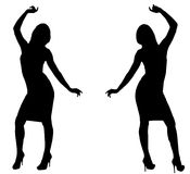 Siluette di Dancing Immagine Stock